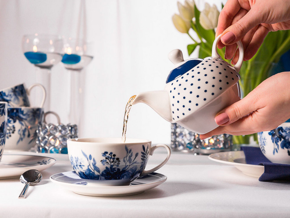 Zestaw / filiżanka do herbaty z czajniczkiem porcelana Altom Design Infinity Blue (tea for one)